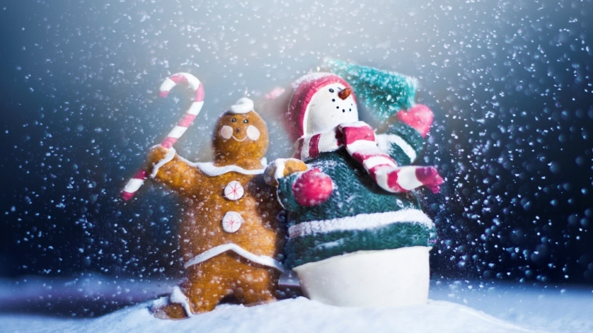 Schneemann und Lebkuchenmännchen im Schnee