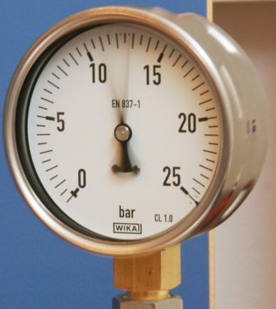 Messgerät ohne Füllflüssigkeit - Ergebnis: vibrierender Zeiger