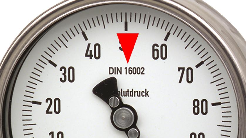 Bild eines Absolutdruckmanometers 532.52 mit Norm DIN 16002