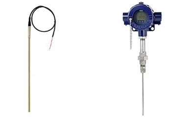 Links: Widerstandsthermometer mit Anschlusskabel Typ TR40 (vielfältige Anwendungsmöglichkeiten) Rechts: Widerstandsthermometer für die Prozessindustrie Typ TR12-B (Petrochemische Industrie, Öl- und Gas-Industrie)