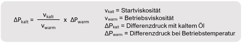 Startviskosität, Betriebsviskosität, Differenzdruck, Öl, Betriebstemperatur
